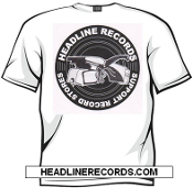TEE SHIRT - HEADLINE RECORDS SUPPORT RECORD STORES WHITE SHIRT