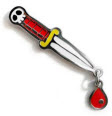 ENAMEL PIN BADGE - DAGGER WITH DROP