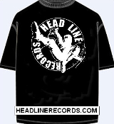 TEE SHIRT - HEADLINE RECORDS CLASSIC LOGO (BLACK SHIRT SHIRT)