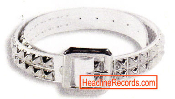 BELT - 2 ROW CHROME PYRAMIDS STUD ON WHITE LEATHER