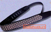 GUITAR STRAP - 4 ROW CHROME PYRAMIDS STUD W/ SMALL SPOTS