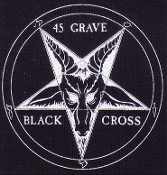 45 GRAVE - BLACK CROSS BUTTON PIN