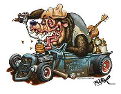 BIGTOE STICKER - HOTROD BEAR