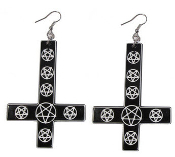 EARRING - INVERTED CROSS EARRING PENTAGRAM BLACK