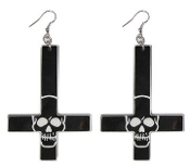 EARRING - INVERTED CROSS EARRING SKULL BLACK