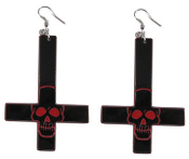 EARRING - INVERTED CROSS EARRING SKULL RED