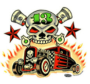VINCE RAY STICKER - SKULL & HOT ROD STICKER