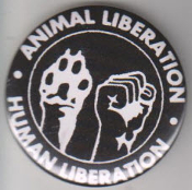 BIG BUTTON - ANIMAL LIBERATION HUMAN LIBERATION BUTTON / BOTTLE OPENER / KEY CHAIN / MAGNET