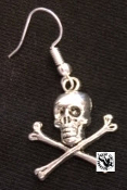 EARRING - LONG CROSS BONE SKULL