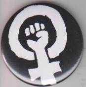 BUTTON - FEMINISM LOGO BUTTON / BOTTLE OPENER / KEY CHAIN / MAGN