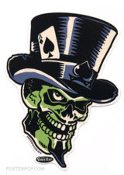 VINCE RAY STICKER - GREEN SKULL STICKER