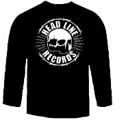HEADLINE RECORDS SKULL LONG SLEEVE TEE BLACK SHIRT