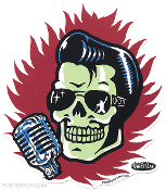 VINCE RAY STICKER - ELVIS SKULL STICKER