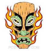 ALAN FORBES STICKER - FLAMING TIKI