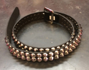 BELT - 2 ROWS CHROME CONES STUD ON BLACK LEATHER