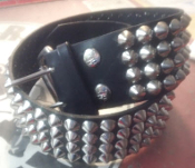 BELT - 4 ROWS CHROME CONES STUD ON BLACK LEATHER