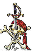 PIZZ STICKER - PIRATE SKULL STICKER