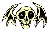 ALAN FORBES STICKER - SKULL BAT